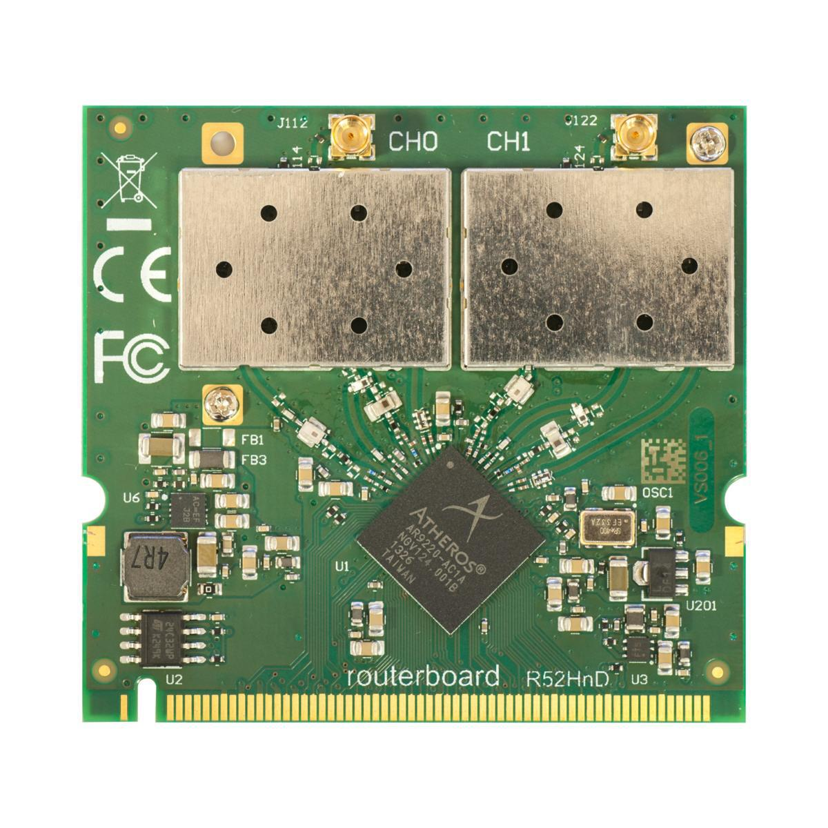 SICE Distributore Ufficiale  Interfaces MikroTik 802.11a/b/g/n HP Dual Band MiniPCI card with MMCX connectors | R52HND