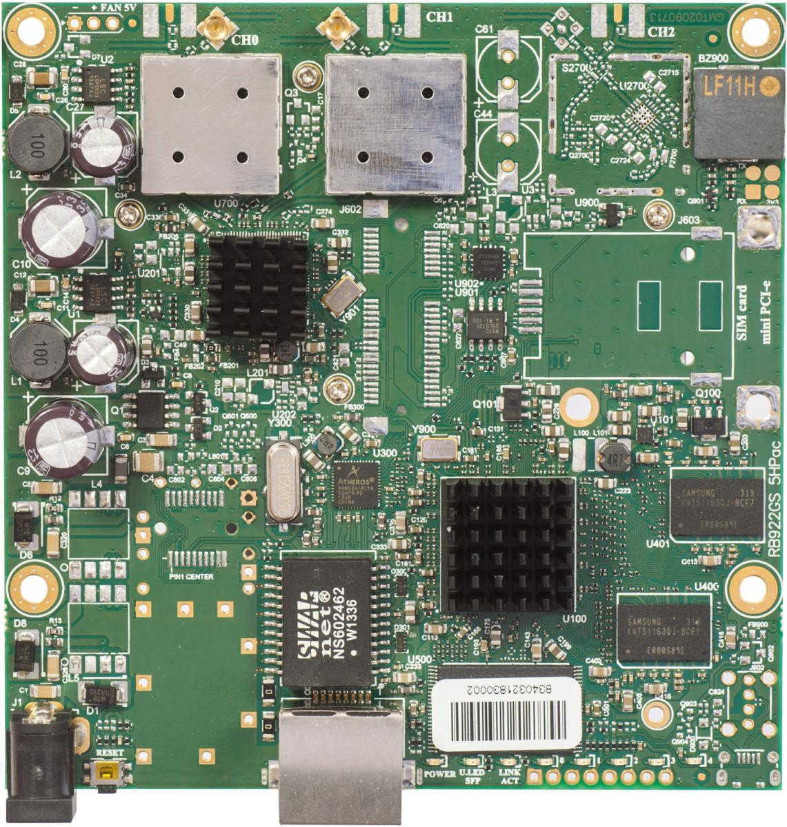 SICE Distributore Ufficiale  RouterBOARD RouterBOARD 911G 720MHzAtheros CPU128MB RAM 1GLAN 802.11a/c 2×2 | RB911G-5HPACD