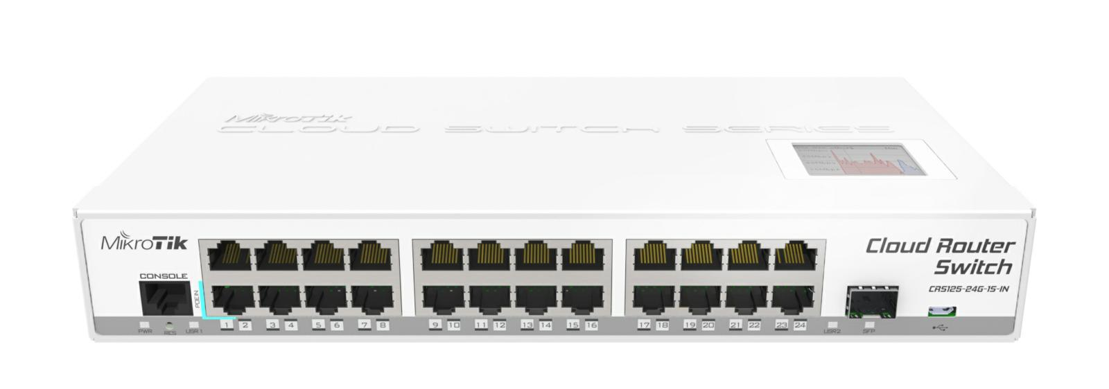 SICE Distributore Ufficiale  Switches CRS125-24G-1S-IN with Atheros AR9344CPU 128MBRAM 24GETH 1xSFP L5 | CRS125-24G-1S-IN