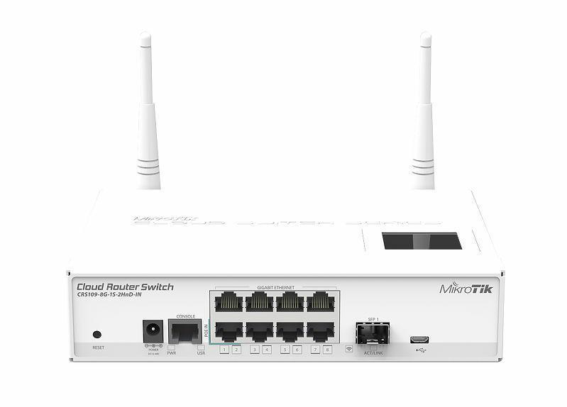 SICE Distributore Ufficiale  Switches Cloud Router Switch 128MB RAM 8GLAN 1xSFP 2.4GHz 802.11b/g/n L5 | CRS1098G1S2HNDIN
