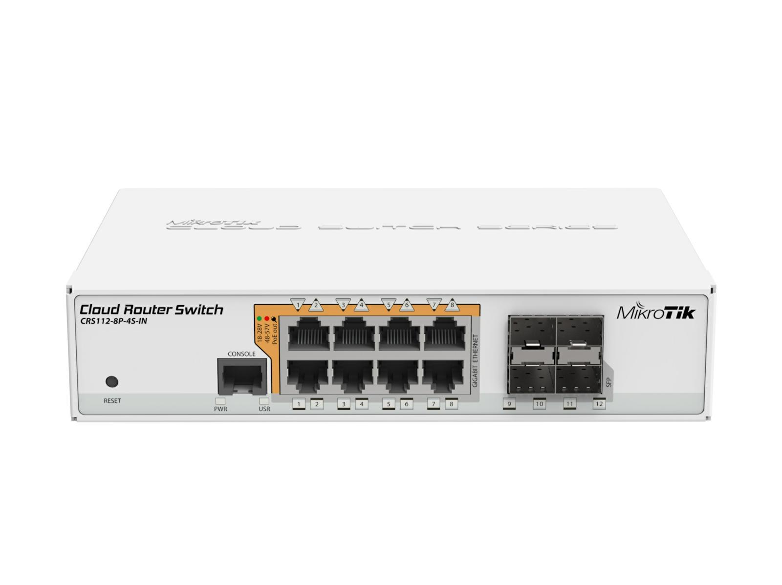 SICE Distributore Ufficiale  Switches Cloud Router Switch 8 PoE out Gigbit Ethernet ports with 4 SFP | CRS112-8P-4S-IN