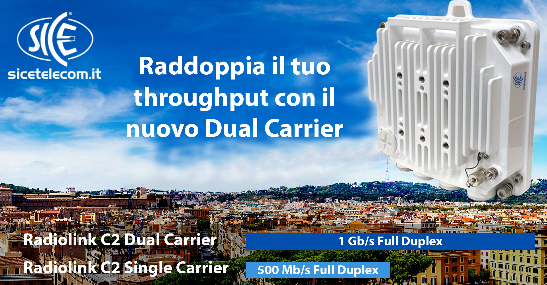 Ponte Radio Radiolink C2 24 GHz unlicensed. Raddoppia il throughput con il nuovo Dual Carrier. Blog News & Eventi  24ghz ponti radio punto punto sice
