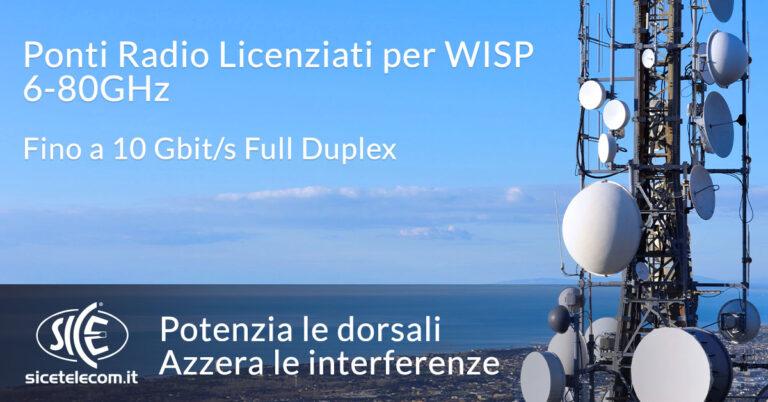 SICE ponti radio licenziati 6-80GHz per WISP