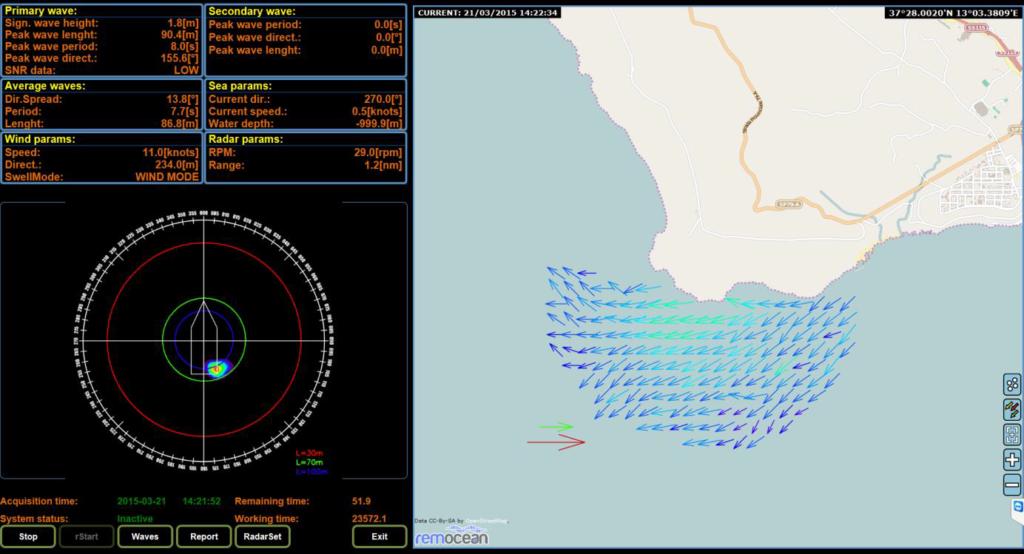 interfaccia utente monitoraggio costiero remocean