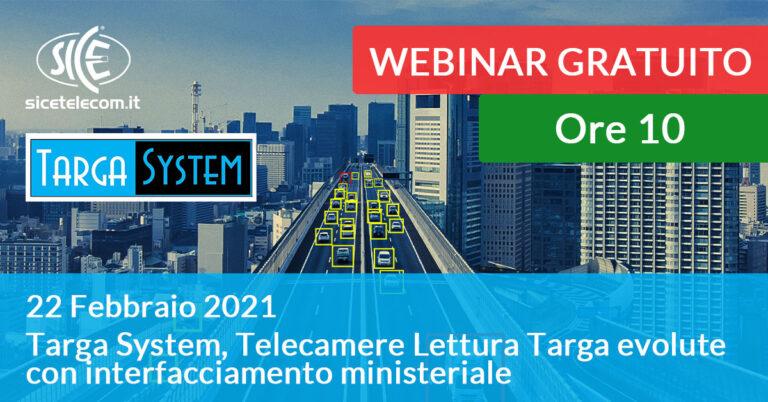22 Febbraio: Webinar Targa System SICE