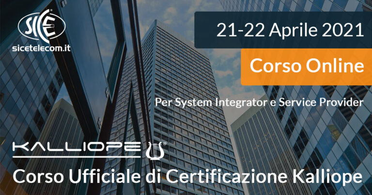 Corso ONLINE Certificazione Kalliope SICE Telecomunicazioni